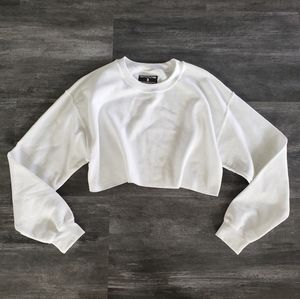White Classic PLT Cropped Sweater Long Sleeve
